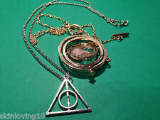 2 COLLANE CIONDOLO HARRY POTTER GIRATEMPO HERMIONE DONI DELLA MORTE TIME TURNER