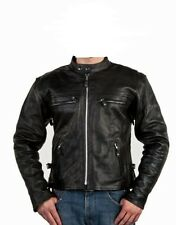 Mens Leather Motorcycle Biker Scooter Racing Premium Jacket