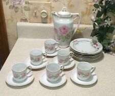 VINTAGE BAVARIA TEA Coffee SET, POT + 6 CUPS & SAUCERS Nippon Plates PINK ROSES