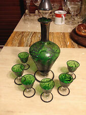 Set of Bohemian Crystal Glass Decanter With 6 Cups Hand Made Green & Clear Stem