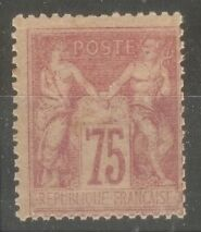 "FRANCE STAMP TIMBRE N° 81 "" TYPE SAGE 75c ROSE 1885 "" NEUF xx A VOIR"