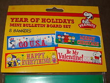 Peanuts Snoopy Year Of Holidays Mini Bulletin Board Set-8 Banners-New In Package