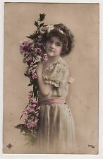 BEAUTIFUL EDWARDIAN GIRL GRETE REINWALD WITH PINK FLOWERS VINTAGE POSTCARD RPPC