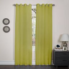 "Faux Silk Window Curtain Panel, Metal Grommet, Holly, 57""x90"", Solid Colors"