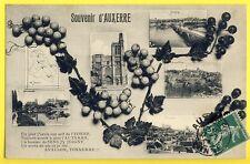 cpa Bourgogne VIN VIGNE RAISINS Souvenir d'AUXERRE (Yonne) Multivue Calembour
