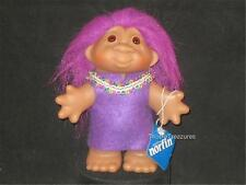 "5"" 2005 VIOLET HAIRED DAM GIRL TROLL PURPLE TUNIC DECORATED W/RICK RACK! V570"
