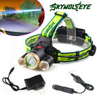 10000LM CREE Headlamp XML 3 xT6 Rechargeable LED Headlight Lamp+Wall/Car Charger