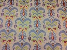 Fairytale/Maroon- Embroidered Ikat Linen Upholstery/Drapery Fabric- 13.50 yds