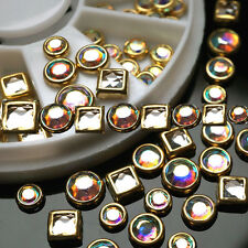 new Nail Art Tips 50 pcs Decoration Square Round Multicolor Glitter Rhinestones