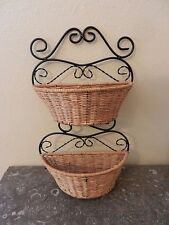 Wicker and Black Metal Wall Hanging Basket, 2 Baskets for Mail Artificial Flower