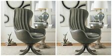 TWO NEW MID CENTURY HARDWOOD SWIVEL HIGH BACK ACCENT CLUB CHAIR CHANNEL VELVET