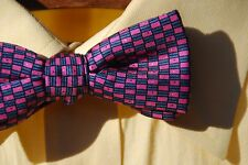 The Bow Tie Club Pink & Blue Pre-Tied All Silk Adjustable Bow Tie USA