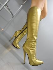 MORI MADE IN ITALY KNEE HIGHEST SEXY BOOTS STIEFEL STIVALI LEATHER GOLD ORO 39