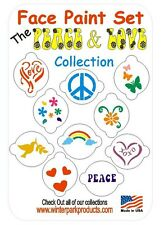 10 Piece Peace & Love FLOWER POWER Hippie Face Paint Set Facepaint Kit Stencils