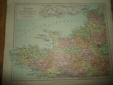 MAP c1920 FRANCE NORTH WEST From Stanfords London Atlas of Universal Geography