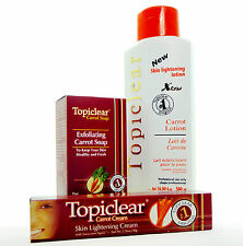 TOPICLEAR Skin Lightening Carrot Lotion Cream Soap KIT Sistema Blanqueador Piel