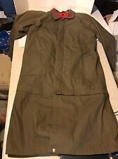 Marlboro Gear Olive Green Trench Coat Jacket Rain Trenchcoat Leather Collar