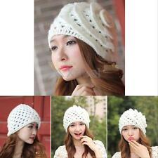 New Winter Warm Women Beret Braided Knit Crochet Baggy Beanie Flower Hat Ski Cap