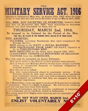 WWI BRITISH MILITARY SERVICE ACT OF 1916 WORLD WAR POSTER REAL CANVAS ART PRINT
