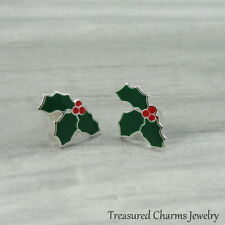 Mistle Toe Post Earrings - 925 Sterling Silver - Holly Berry Christmas Studs NEW