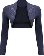 New Womens Long Sleeve Beaded Sequin Design Bolero Shrug Cardigan Tops 8-26
