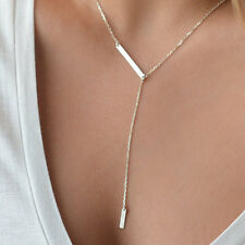 2016 Silver Bar Lariat Necklace Delicate Y Bar Drop Lady Jewellery Wedding Gifts