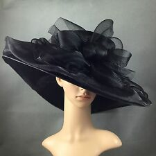 Kentucky Derby Black Hat Wide Brim Dress Church Wedding Tea party Funeral Hat US