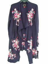 JOHNNY WAS Biya Reoust Wrap Embroidered Sweater Cardigan Navy  S.M,L