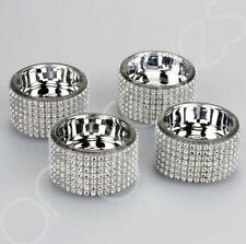 Set Of 4x Diamante Tealight Holder Tea Light Candle Holder Cup Sparkling Chrome