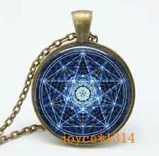 Vintage Pentagram Wiccan Cabochon Bronze Glass Chain Pendant Necklace #463