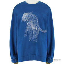 Stella McCartney Petrol Blue Tiger Embroidered Sweater Sweatshirt IT44 UK12
