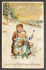 PFB Big Brother & Cute Little Sister w/ Flower Bouquet on Sled Snow Christmas pc