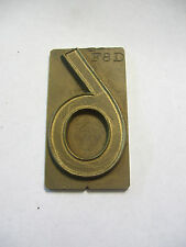 """Solid Brass Number """"6"""" Printing Plate 1 1/2"""" x 2 7/8"""" (Can Be Used as a 9)"""