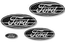 Front,Rear,Steering Wheel Decals Sticker Oval Overlay For Ford F150 11-14 USA BK