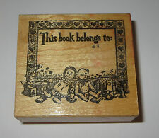 This Book Belongs To Rubber Stamp Raggedy Ann Teddy Bear PSX Toys Vintage Hearts