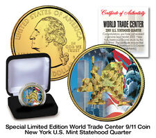WTC 9/11 GOLD HOLOGRAM 24K GOLD PLATED U.S. MINT NEW YORK STATEHOOD QUARTER COIN