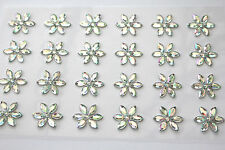 48 x 15mm Sparkling Crystal Sunflower AB Sticker Self Adhesive Flowers
