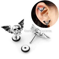 """Pair 16G 1/4"""" Steel Bat Skull Ear Tragus Cartilage Helix Stud Earrings Piercing"""