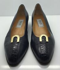 BALLY Navy Blue Leather & Croc Gold Detail Ballet Flats Woman's Sz 8N Italy Nice