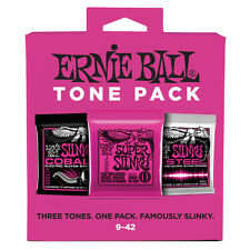 Ernie Ball Tone Pack Electric Guitar Strings Super Slinky Cobalt M-Steel 9-42