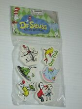 DR SEUSS CAT IN THE HAT CHUNKY SHAPED  ERASERS GREEN EGGS ONE FISH HORTON PK/6