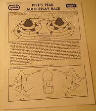 Lionel Pike's Peak Auto Relay Race Photocopy Instruction Sheet for Slot Car Set