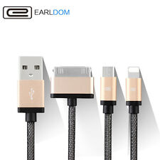 3 in 1 USB Charger Cable Adapter iPhone 4 5 6 6S + Samsung 8 Pin 30 Pin Micro