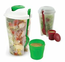 2 PACK Fresh Salad To Go  Container Set with Fork and Dressing Holder BPA Free