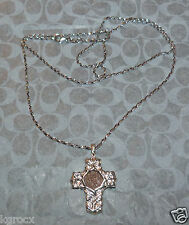 """GENUINE WIDOW'S MITE COIN CROSS STERLING WITH 24"""" DESIGNER NICE STERLING CHAIN"""