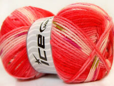 Lot of 4 x 100gr Skeins Ice Yarns BABY DESIGN Wool Red Pink White Green