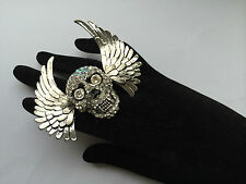 STUNNING SKULL WINGS CRYSTAL JEWELLERY RING / GOTHIC PUNK ACCESSORIE
