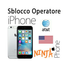 SBLOCCO OPERATORE UNLOCK IPHONE 4s 5 5c 5s 6 6s  CARRIER AT&T USA ACTIVE LINE