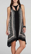 "$228 BCBG BLACK COMBO ""AMELIA"" SLEEVELESS PRINTED CUT OUT DRESS NWT XXS"
