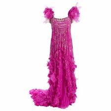 6500$ TEMPERLEY LONDON PINK BEADED GOWN DRESS WITH TRAIN 38 FR 10 UK 6 US